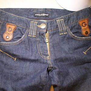 Dolce&Gabbana Dark wash Jeans with leather…